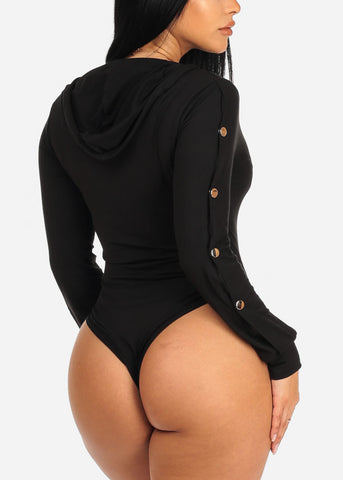 Image of Silver Snaps Black Hooded Bodysuit