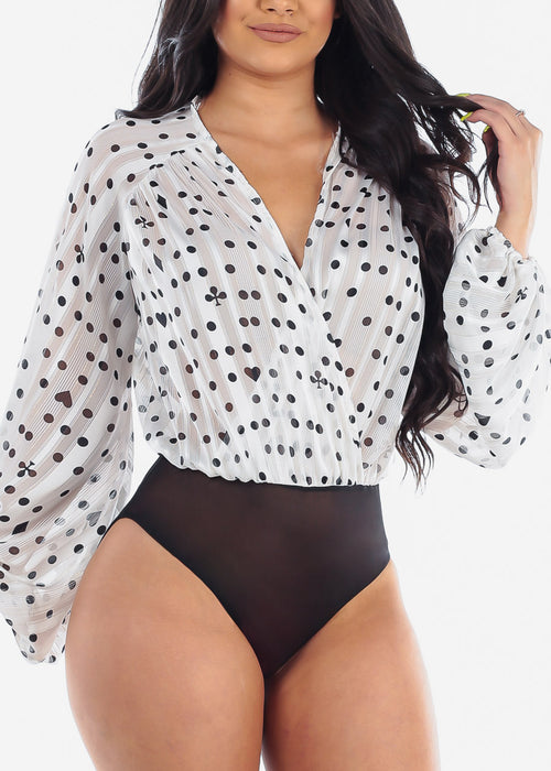 Women's Junior Sexy Going Out Club Wear See Through Wrap Front V Neck White Polka Dot Print Black Bodysuit