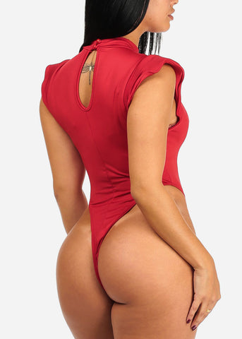 Sexy Red Padded Cap Sleeve Bodysuit