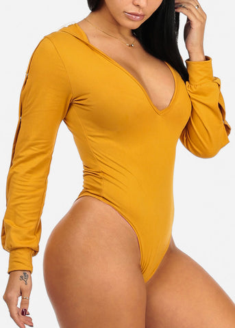 Image of Sexy Silver Snap Mustard Bodysuit