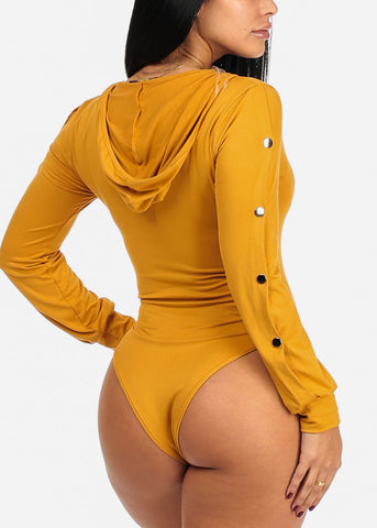 Image of Sexy Silver Snap Long Sleeve V Neckline Mustard Bodysuit