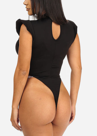 Image of Padded Cap Sleeve Black Bodysuit