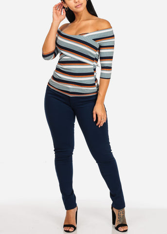 Image of Stylish Crisscross Stripe Blue Top