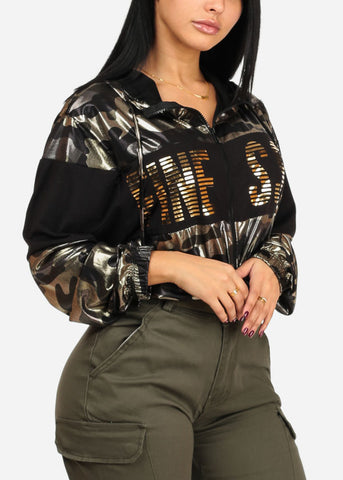 Shiny Camouflage Graphic Print Long Sleeve Zip Up Sweater Top