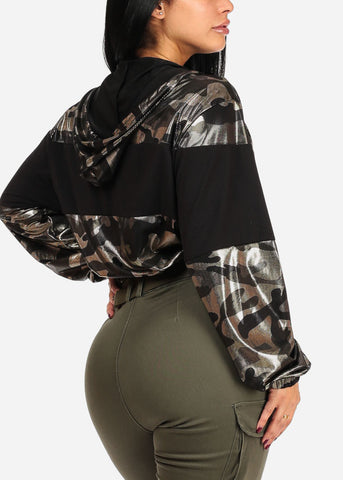 Shiny Camouflage Graphic Sweater Top