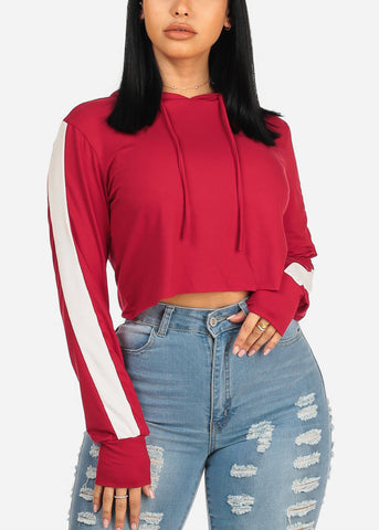 Basic Red Hooded Sweatshirt