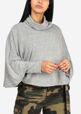 Long Sleeve Cowl Neckline Light Grey Sweater Top