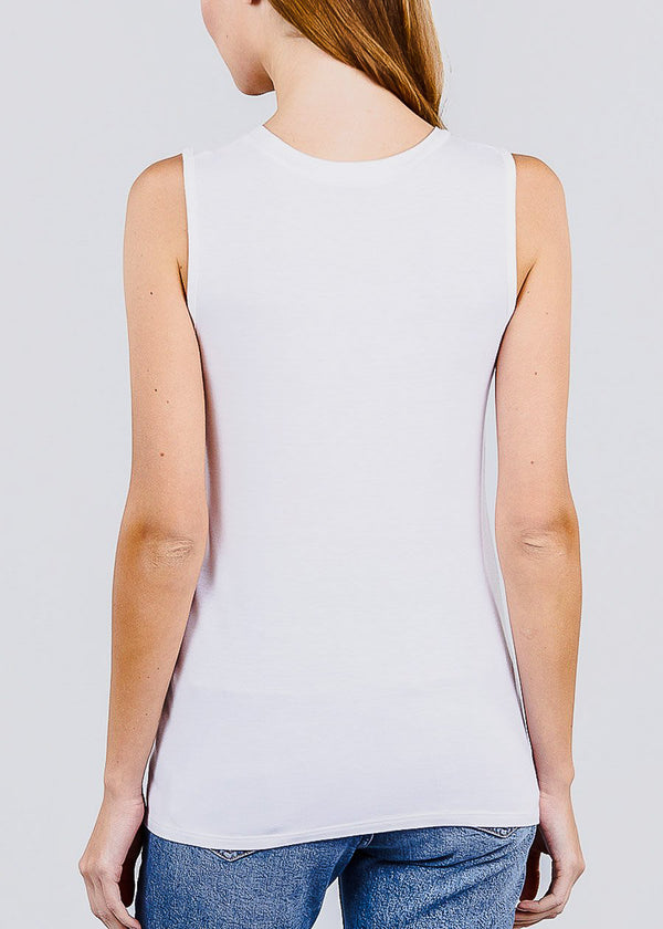 White Graphic Tank Top