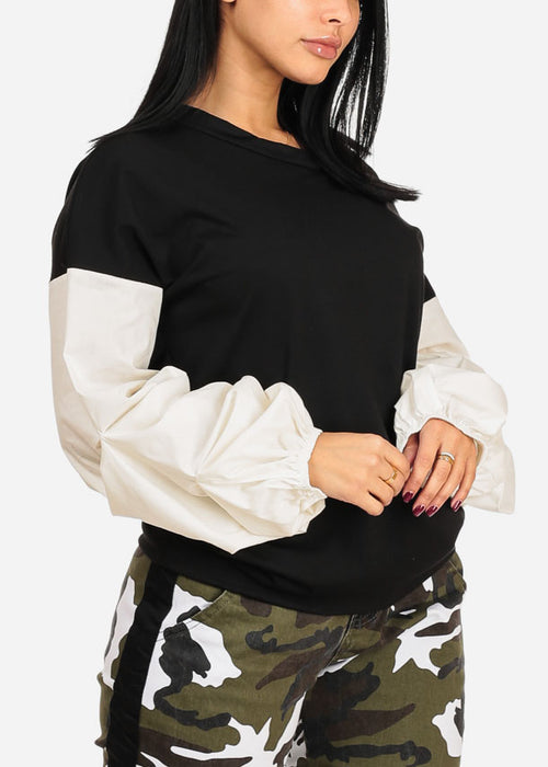 Two Tone Black And White Round Neckline Long Sleeve Pullover Top