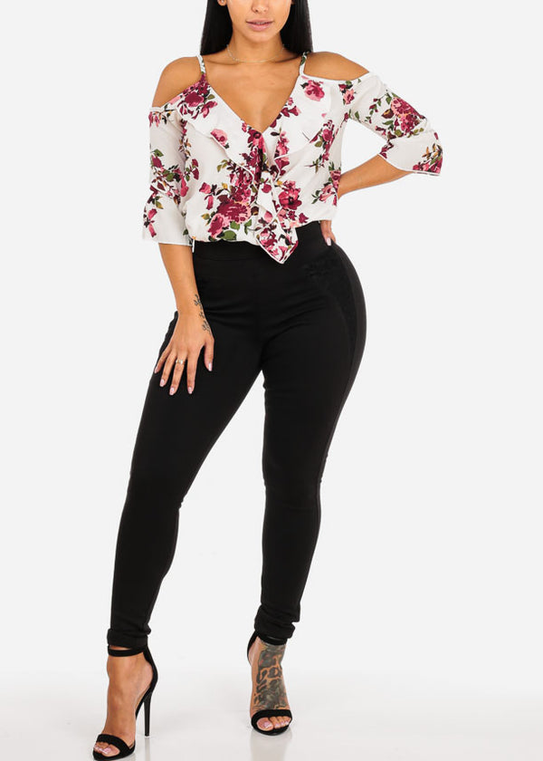 Casual Ruffled Floral Blouse