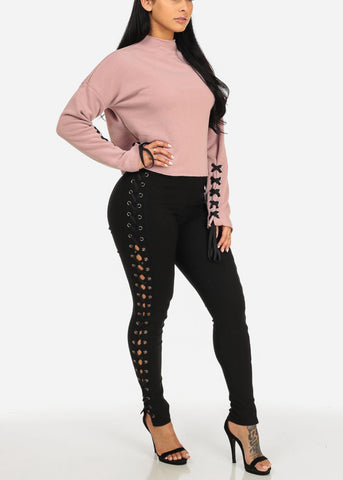 Stylish Lace Pink Fleece Top