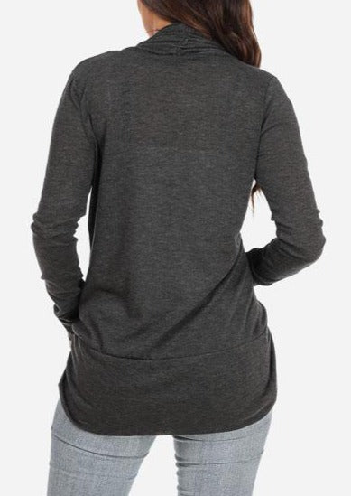 Classic Cardigan with rounded Hem (Gray)