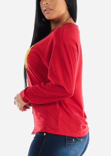 Red Long Sleeve Graphic Top