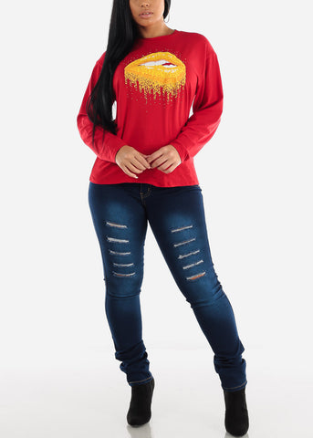 "Image of Red Long Sleeve Graphic Top ""Golden Lips"""
