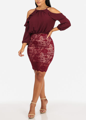 Sexy High Rise Floral Lace Above Knee Burgundy Skirt