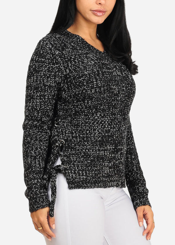 Black Long Sleeve Lace Up Sides Sweater
