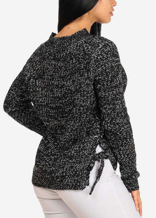 Black Knitted Long Sleeve V Neckline Lace Up Sides Sweater Top
