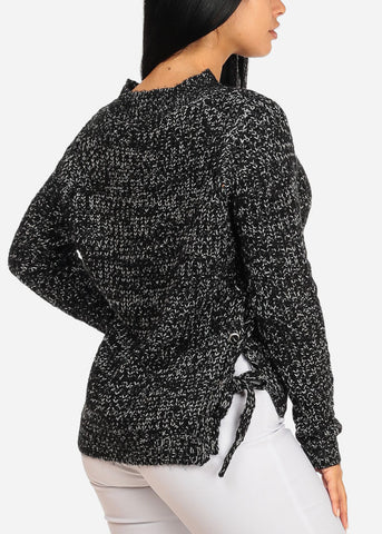 Image of Black Knitted Long Sleeve V Neckline Lace Up Sides Sweater Top