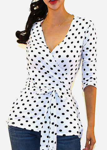 Image of White Polka Dot Wrap Front Top