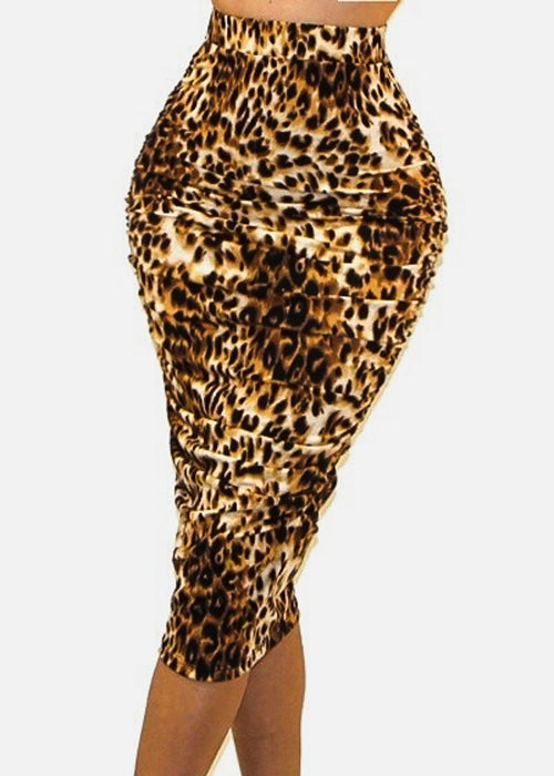 Ruched Sides Animal Print Pencil Skirt