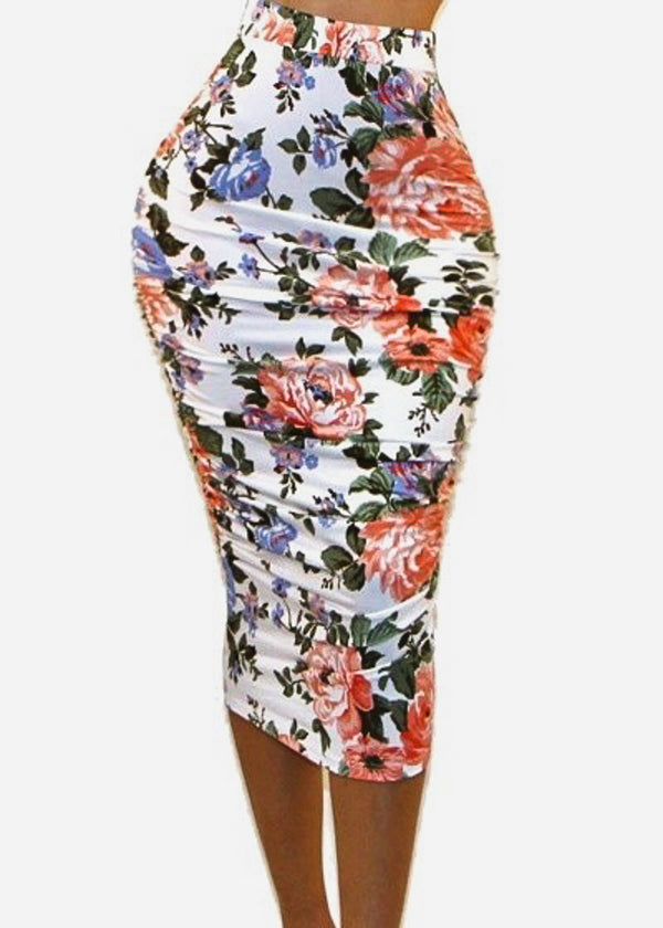 Ruched Sides Floral Ivory Pencil Skirt
