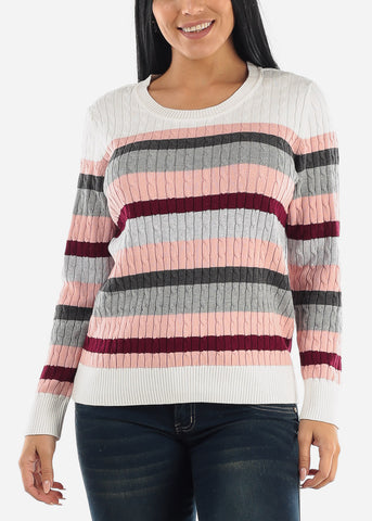Image of Cute Striped Knit Long Sleeve Sweater