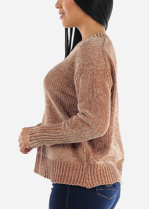 Brown Chenille Knitted Sweater