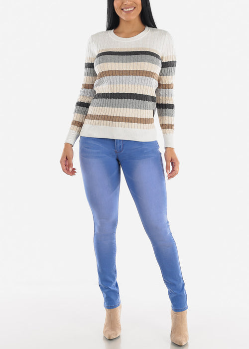 Ivory Striped Rib Knit Sweater