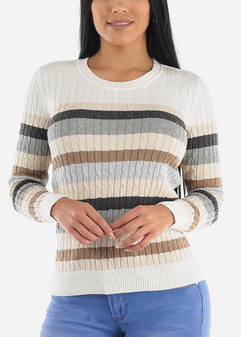 Image of Ivory Striped Rib Knit Sweater