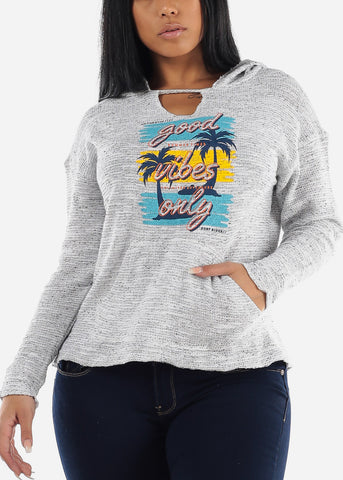 "Image of Oat Graphic Knitted Sweater ""Good Vibes Only"""