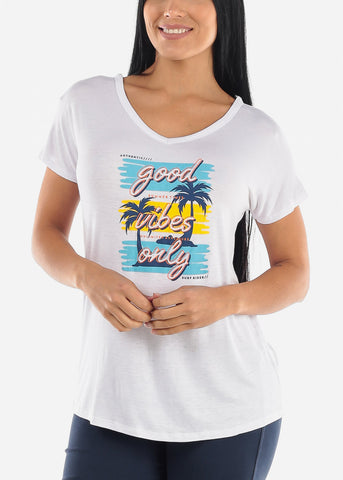 "Image of White Graphic Top ""Good Vibes Only"""