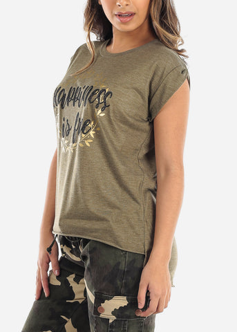 "Image of Olive Top ""Happiness Is Free"""