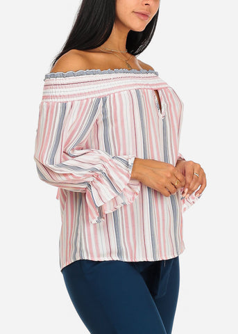 Pink Off-Shoulder Stripe Top