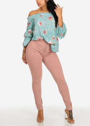 Lightweight Teal Off-Shoulder 3/4 Sleeve Floral Print Slip On Cute Top
