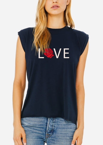 "Image of Navy Graphic Tee ""Love"""