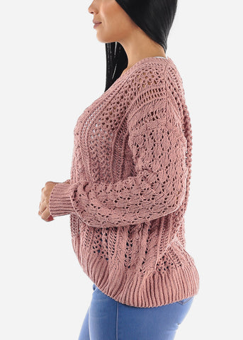 Image of Pink Cable Knit Sweater