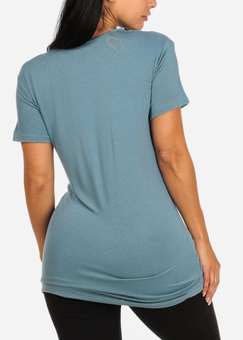 Casual Teal Plunge Cut Out Top