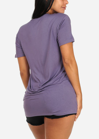 Casual Violet Plunge Cut Out Top