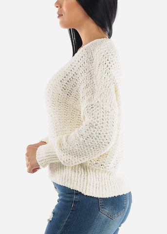 Image of White Soft Knit Sweater Top