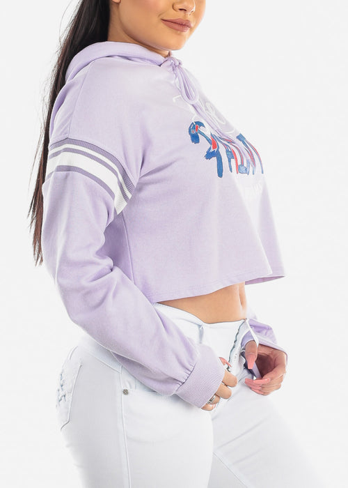 "Lavender Cropped Sweatshirt ""Life Is Art"""