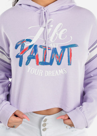 "Image of Lavender Cropped Sweatshirt ""Life Is Art"""