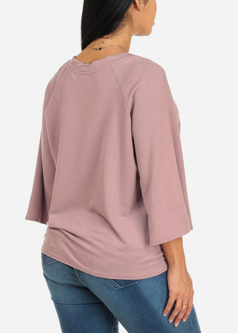 Image of Mauve Stylish Tie Front Top