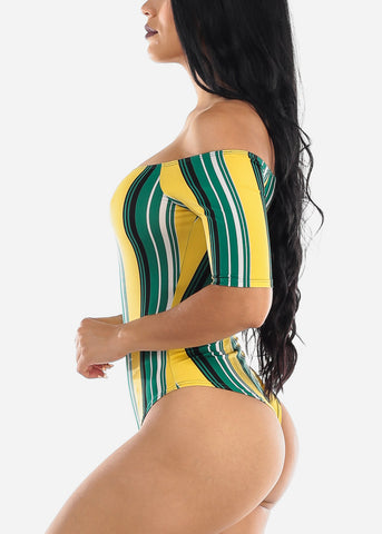 Green & yellow Stripe Off Shoulder Bodysuit