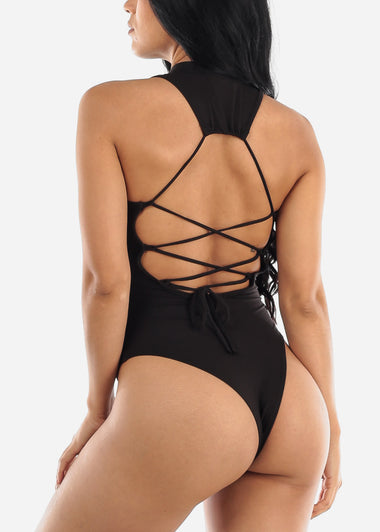 Back Lace Up Black Bodysuit