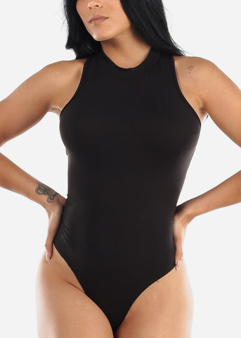 Image of Back Lace Up Black Bodysuit