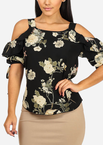 Black Floral Print Chiffon Top