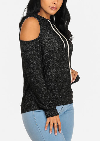 Charcoal Cold Shoulder Sweater Top W Hood