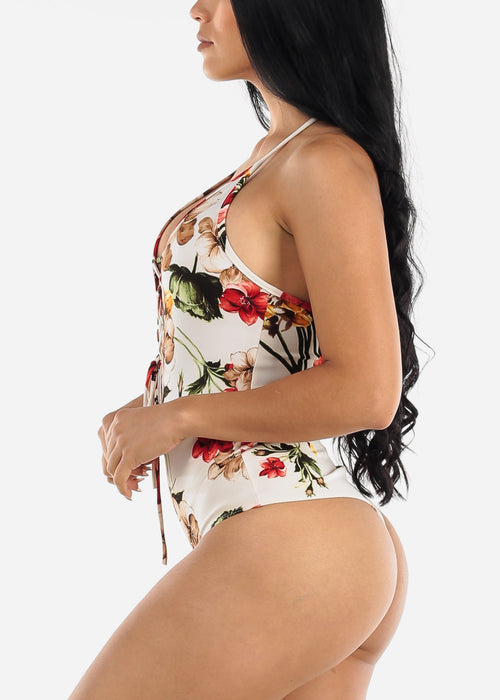 Ivory Floral Lace Up Front Thong Bodysuit