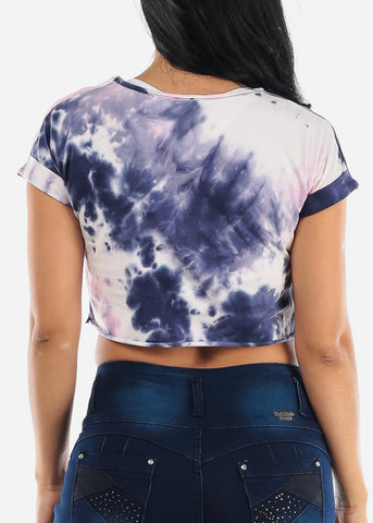 Pink Tie Dye Cut Out Crop Top