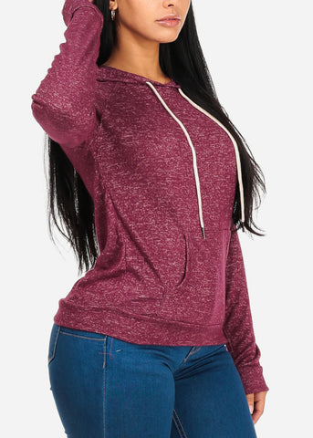 Cozy Burgundy Sweater W Hood